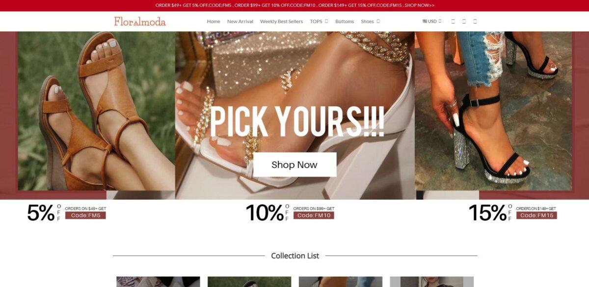 floralmoda scam home page