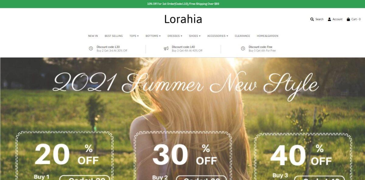 lorahia scam home page