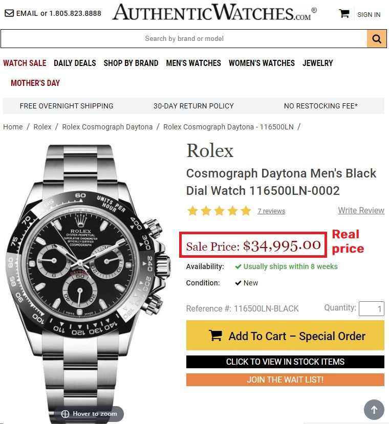 rolex daytona real price