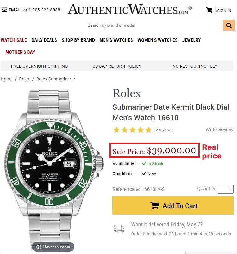 rolex submariner real price