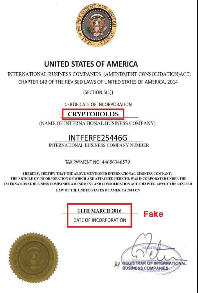cryptobolds scam fake certificate