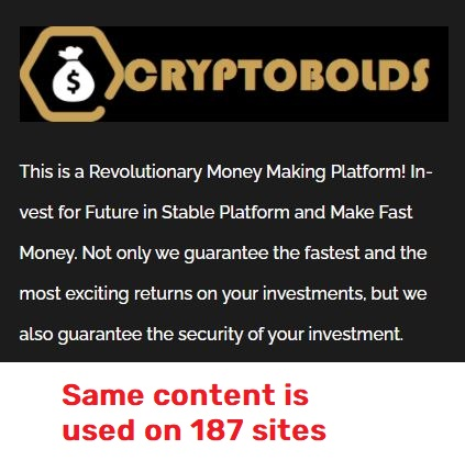 cryptobolds scam copied about us text