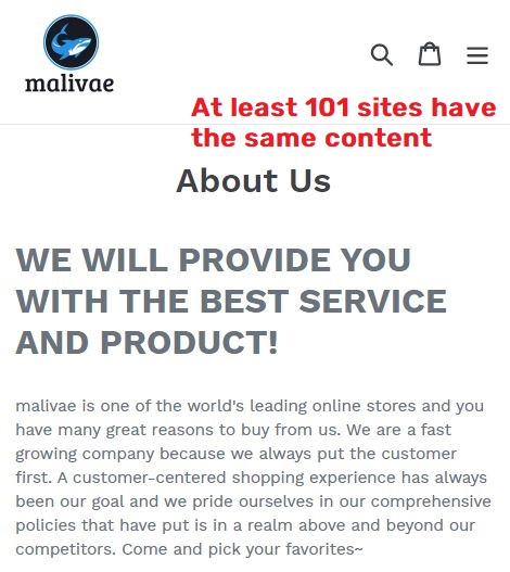 Malivae scam about us page