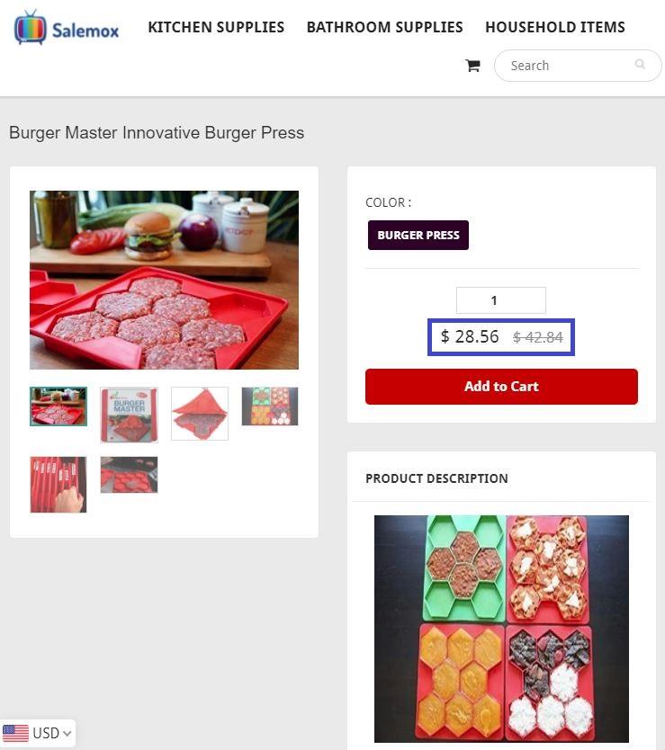 salemox scam burger press fake price