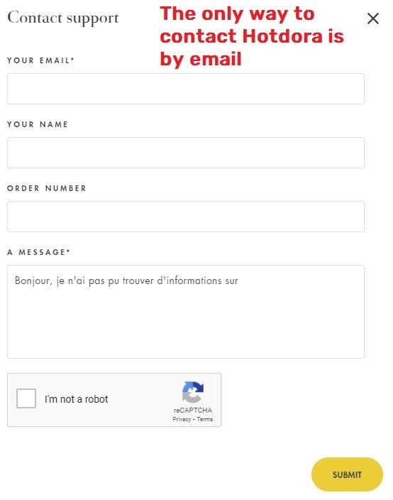hotdora scam contact form