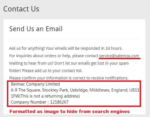 salemox scam fake contact details