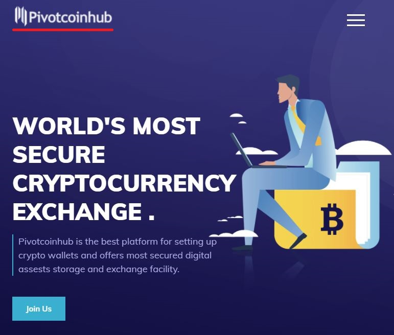 pivotcoinhub scam home page banner