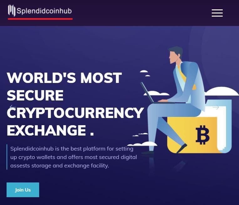 splendidcoinhub scam home page banner