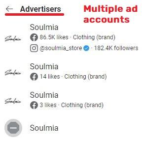 soulmiacollection scam facebook advertiser accounts
