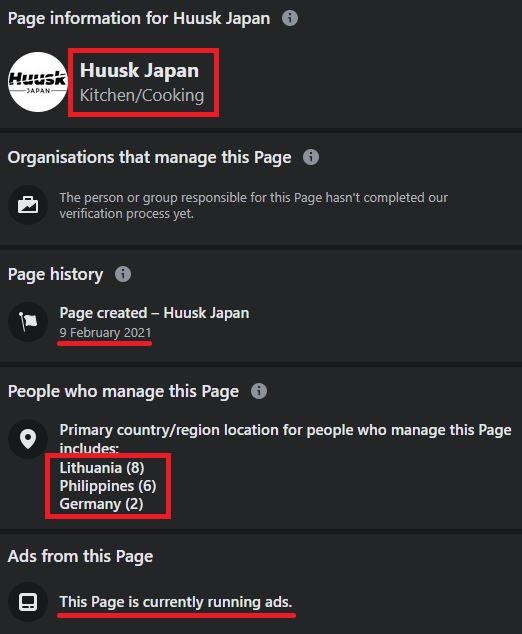 huusk scam facebook page