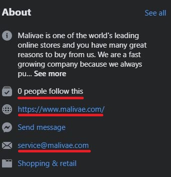 Malivae scam page information 1