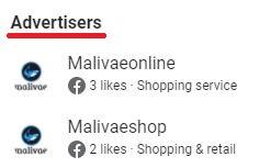Malivae scam facebook ad accounts