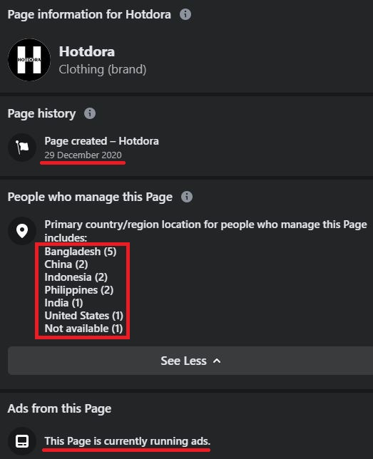 facebook page location china