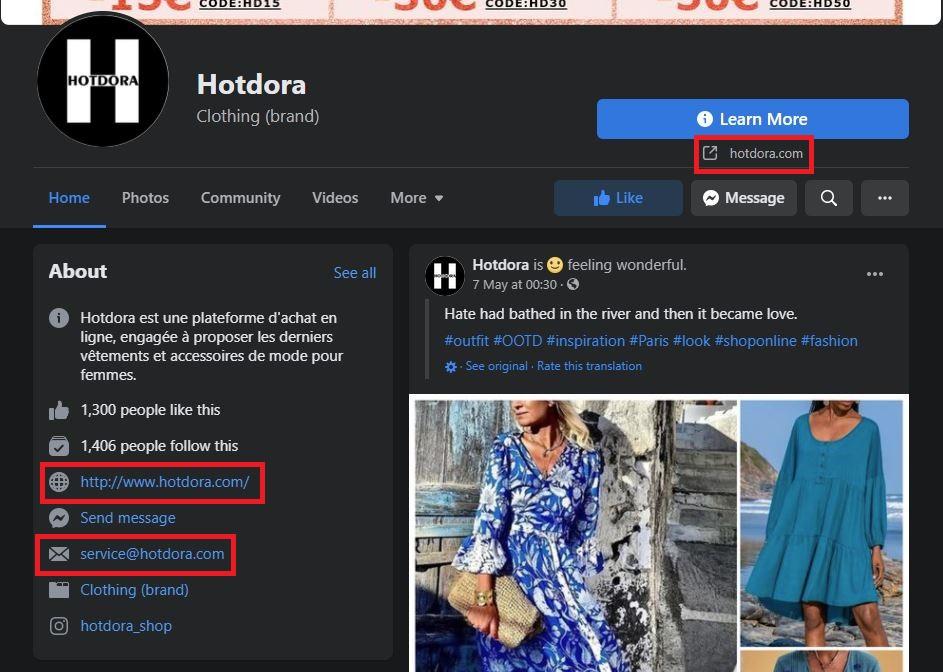 hotdora scam facebook page