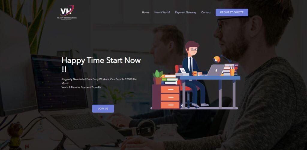 vhsofttechsolutions.com vetri honest scam home page