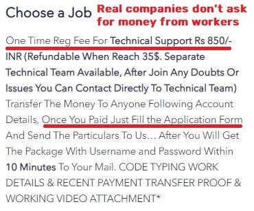 VHSoftTechSolutions scam registration fee