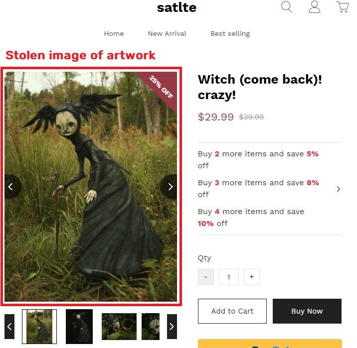 satlte scam witch statue stolen image