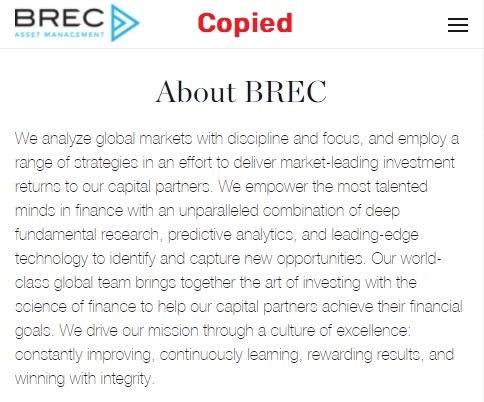brec scam copied about us page