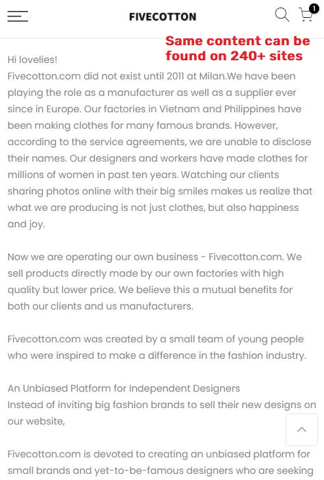 fivecotton scam about us page