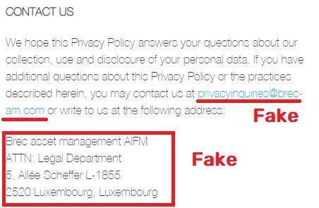 brec scam fake contact details