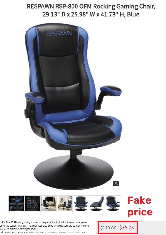 goshop kendall.today scam gaming chair fake price