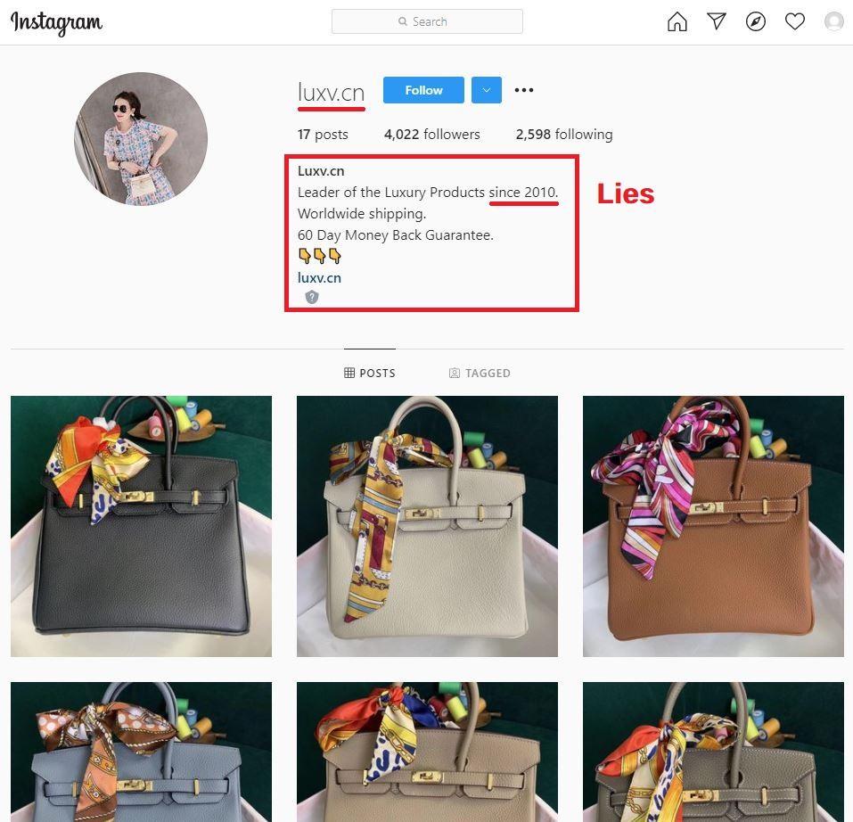 aalux luxv luxury v store scam instagram profile