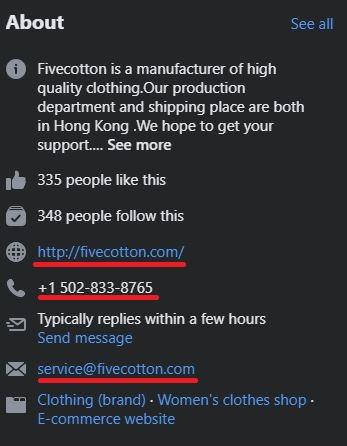 fivecotton scam facebook page 2