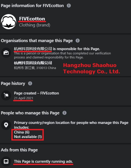 fivecotton scam facebook page information china