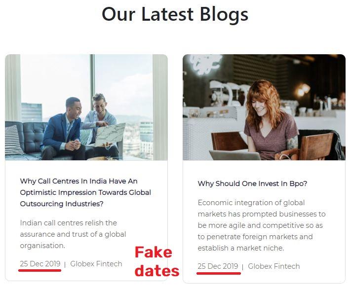 globex fintech globexfintech scam fake blog dates