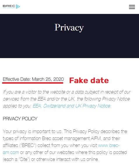 brec scam fake privacy policy date