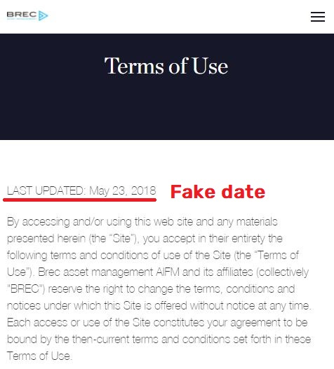 brec scam fake terms of use date