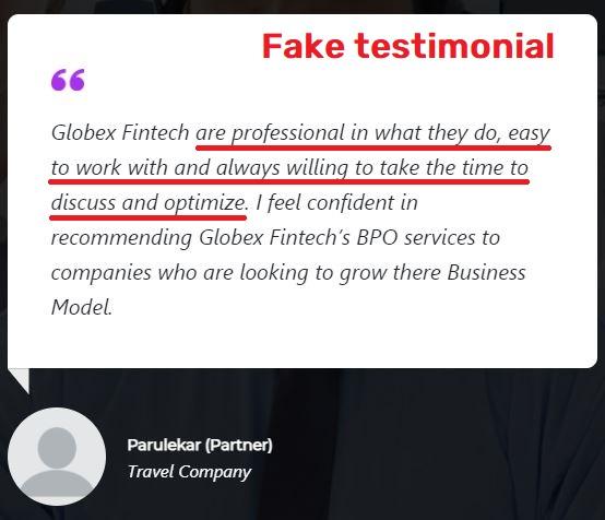 globex fintech globexfintech scam  fake testimonial 2