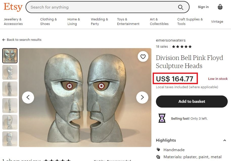 etsy pink floyd division bell sculptures