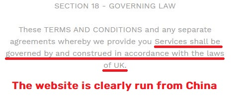 uk governing laws tos
