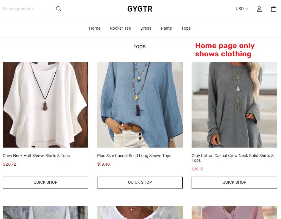 Gygtr scam clothing on home page