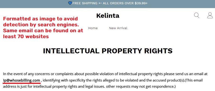 kelinta scam fake intellectual property rights page lp@whosebilling.com