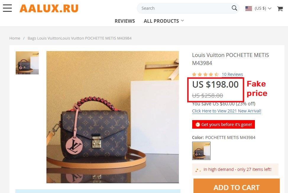 aalux luxv luxury v store scam fake louis Vuitton