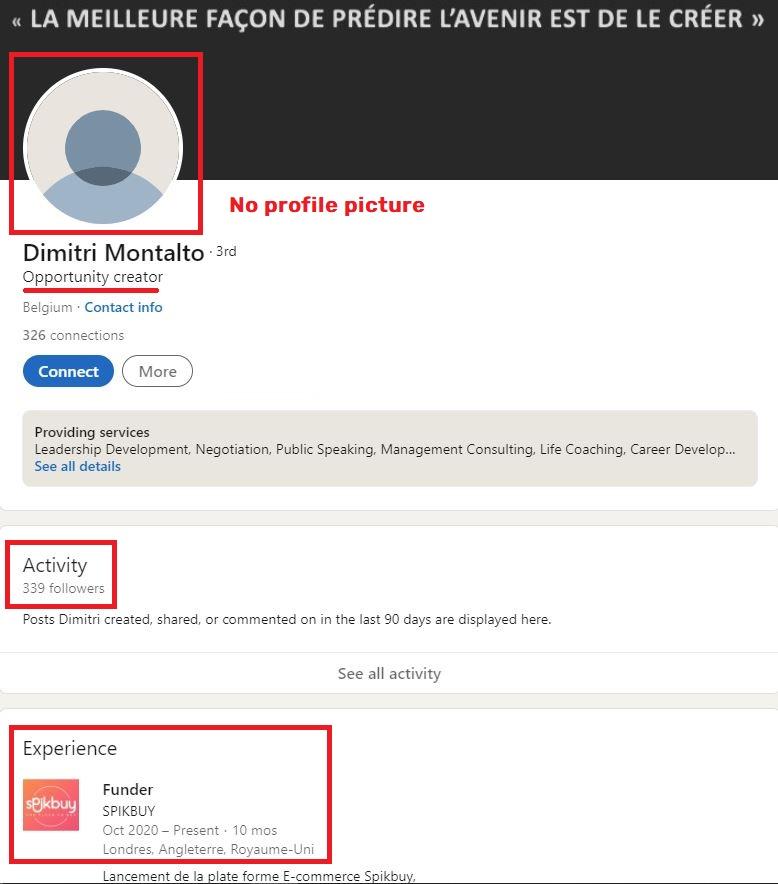spikbuy scam dimitri montalto linkedin 1