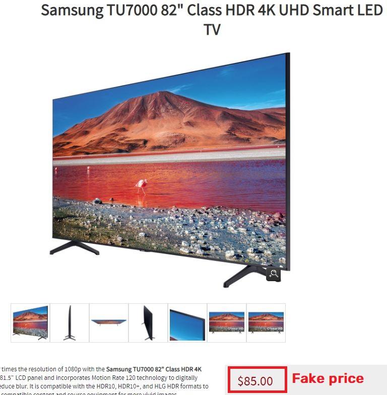 Huntersothebysrealty scam fake price samsung tv