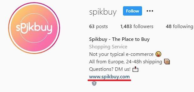 spikbuy scam isntagram page