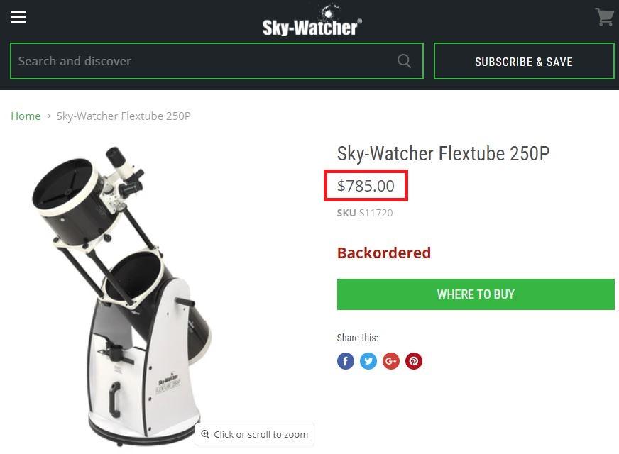 skywatcher telescope flextube 250