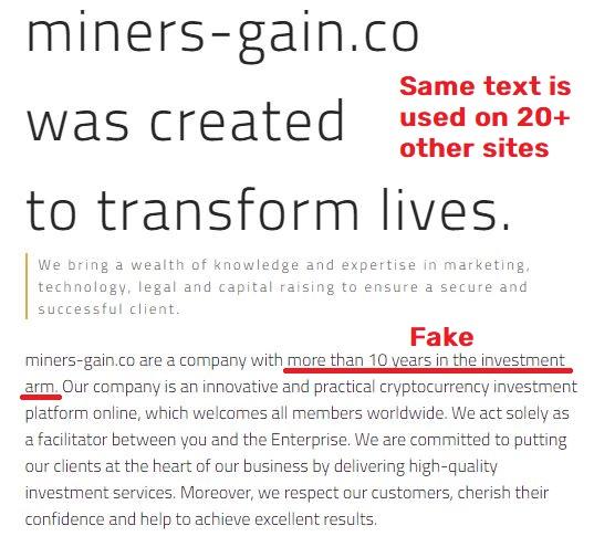 miners-gain scam copied content