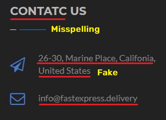 Fastexpress Delivery scam fake contact details