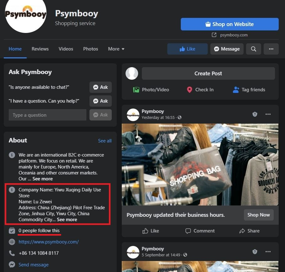 psymbooy scam facebook page info 2