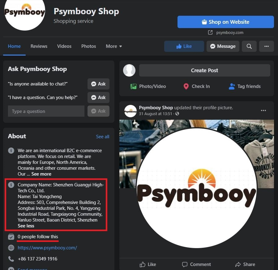 psymbooy scam facebook page info 1