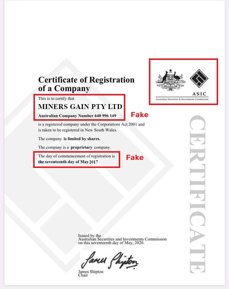miners-gain scam fake asic registration