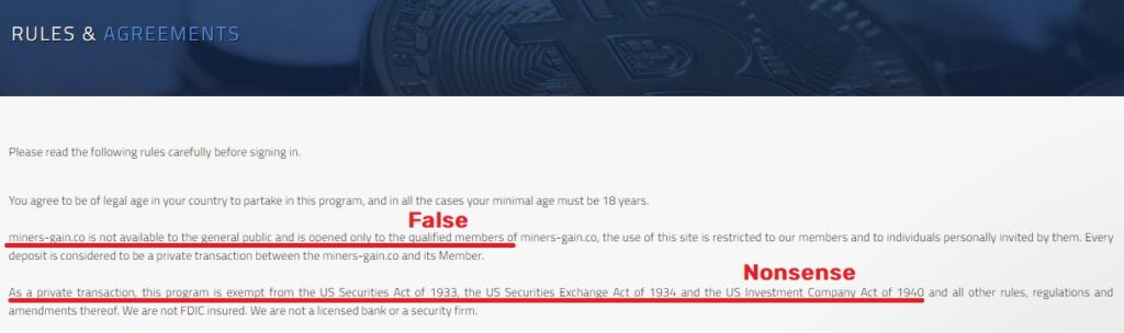 miners-gain scam fake terms and conditions