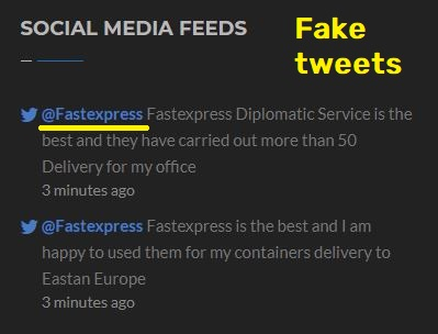 Fastexpress Delivery scam fake tweets