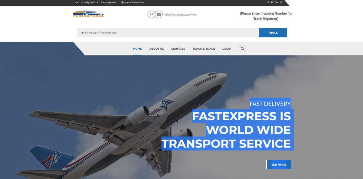 fastexpress delivery scam home page