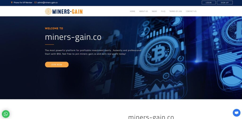 miners-gain scam home page